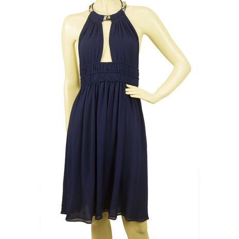 Roberto Cavalli Midnight Blue Halter Neck Beaded Open Back Silk Dress - Sz 40