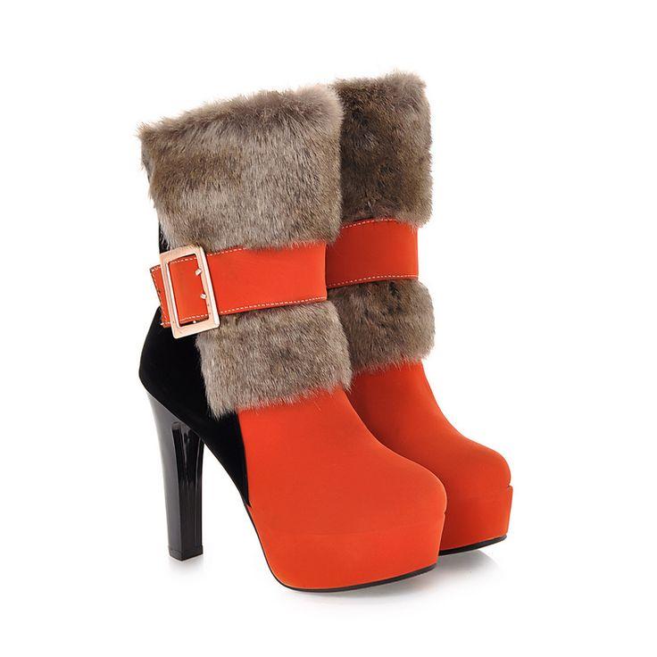>> Click to Buy << Hot Sexy Green Black Orange Women Mid Calf  Martin Boots Platform Pumps Ladies Shoes High Heels Buckle A160 Plus Big size 43 10 #Affiliate