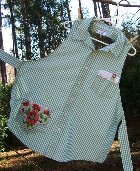 Upcycled Repurposed Woman's Shirt Apron with Vintage Hankie and Button Green & Red