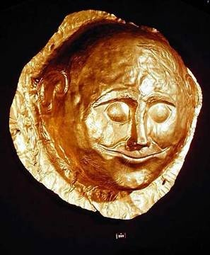 Gold Death Mask from circle A, Mycenaean, Late Bronze Age. 1600-1450BC National Archaeological Museum, Athens