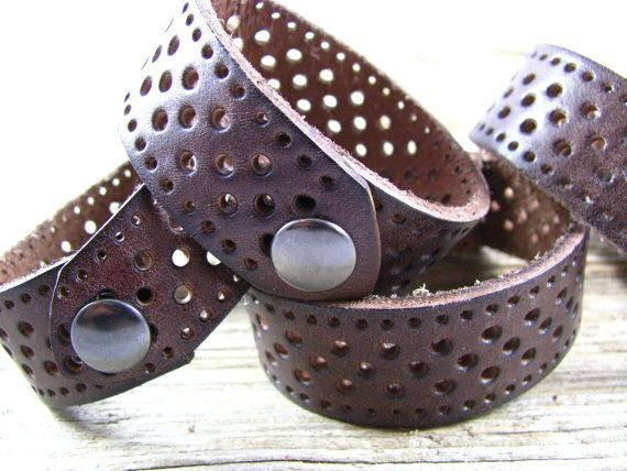 Leather Jewelry - Recycled Leather Cuff - Leather Bracelet - Cuff - Cut Out Cuff…