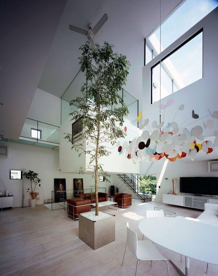 arbre intérieur en pot dans une maison d'architecte en porte-à-faux- Kre House