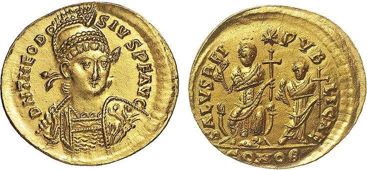 NumisBids: Nomisma Spa Auction 50, Lot 39 : ROMA IMPERO Teodosio II (408-450) Solido (Costantinopoli) Busto...