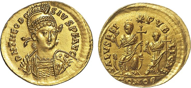 NumisBids: Nomisma Spa Auction 50, Lot 39 : ROMA IMPERO Teodosio II (408-450) Solido (Costantinopoli) Busto...