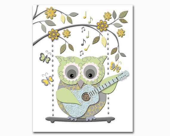 Neutral Nursery Artwork Baby Boy Room Wall Decor Baby Girl Art Kids  Decoration Playroom Poster Blue Yellow Grey Green Owl Toddler Print Gift