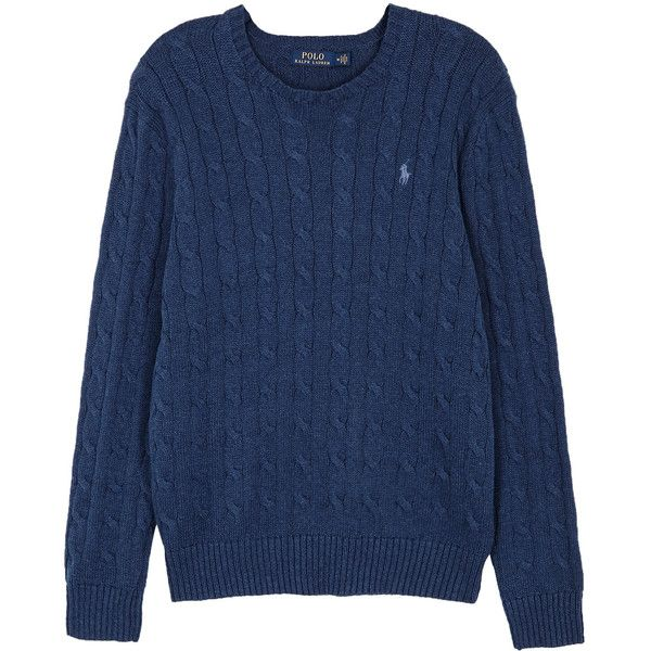 Polo Ralph Lauren Blue Cable-knit Cotton Jumper - Size L (195 CAD) ❤ liked on Polyvore featuring men's fashion, men's clothing, men's sweaters, polo ralph lauren mens sweater, mens cable sweater, mens cotton cable knit sweater, mens cable knit sweater and mens chunky cable knit sweater