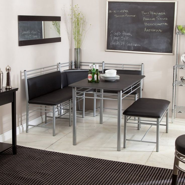 Furniture, Attractive L Shaped Grey Kitchen Nook With Black Cushions Square Grey Dining Table With Black Countertop Blackboard Black Area Rug Long Wall Mirror: Knowing Best Kitchen Nook Ideas