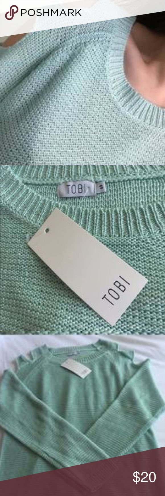 Tobi cold shoulder mint sweater This beautiful mint sweater has only been worn once and is in excellent condition. Features shoulder cut outs that are so cute and let you show some skin! It's a thin sweater so it would be perfect for summer paired with some shorts! *does not come with tag* Tobi Sweaters Crew & Scoop Necks