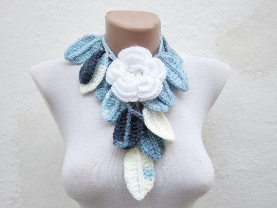 Removeable Brooch Pin Hand crochet Lariat Scarf Blue by scarfnurlu