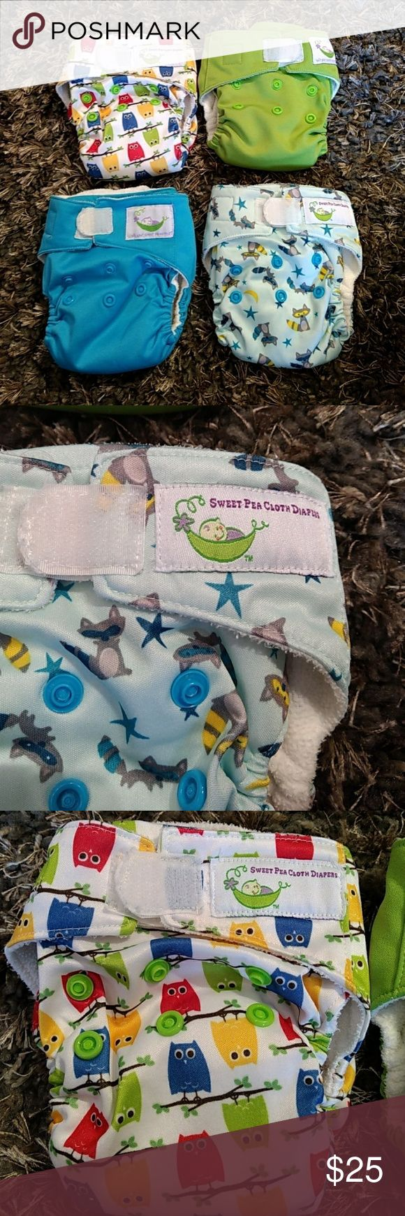 Sweet Pea newborn all-in-one cloth diapers Lot of for newborn size all-in-one cloth diapers. Fits sizes 6 to 12 pounds. Velcro Fasteners in good used condition. Each diaper comes with an additional 2 layer microfiber insert for additional absorption. Good used condition. Cute gender-neutral prints Sweetpea Other