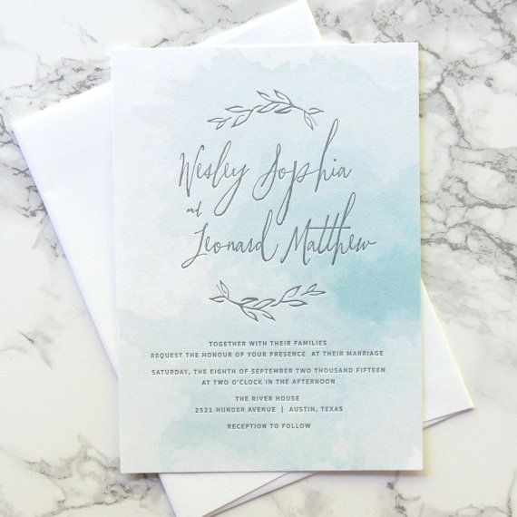 I love the wreath, but wish the wreath were more in the middle so it's not just our names at the top, and more of an introduction. LOVE that there is watercolor behind it. This is my favorite- branches and a watercolor. But maybe the watercolor in a gold-copperish kind of color?