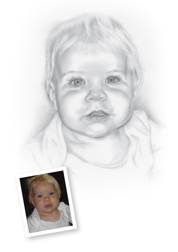 "Pencil Portraits of Babies - Harry.  ""Absolutely love the portrait of Harry, a brilliant likeness. His parents will adore it. (Wouldn't we all love to have those eyelashes!) I had one done of his brother, Ben, a few years ago and it was no where near as good. So now I have found you I shall return. Many thanks, Mark, for your good communication and very quick completion."" Pam"