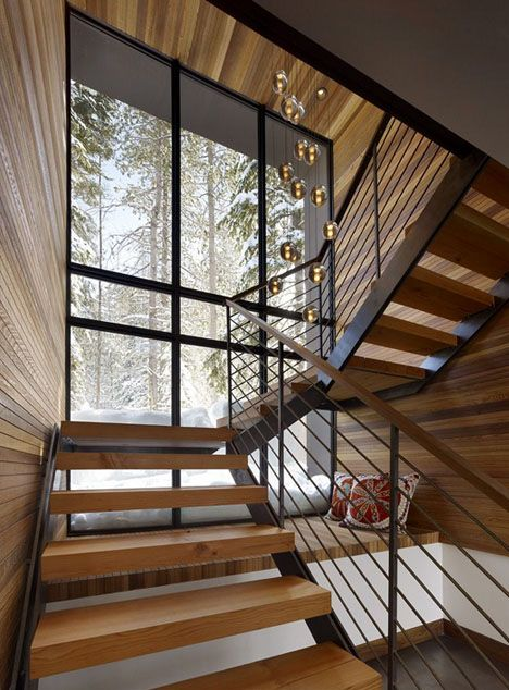 Wooden staircase and bench