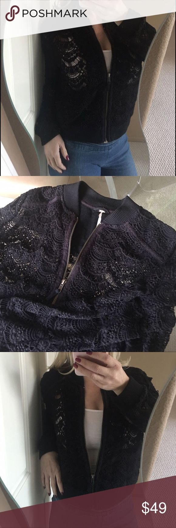 ✨Free People Black Crochet Zip Up Cropped Jacket✨ Super cute, chic, and classic black crochet Free People jacket! Full front zip, cotton collar, hem, and cuffs. In excellent condition! ❤️ Free People Jackets & Coats