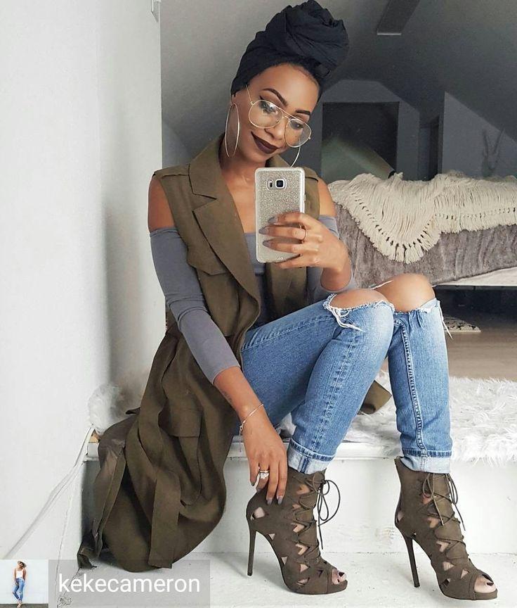 Credit to /kekecameron/ : Happy Tuesday #instafam! XO :man_with_turban: #ihatedoingmyhair #wrapqueen #protectivestyle . . . Headwrap: /wrapqns/ use discount code keke Olive duster vest: /shopborntrendy/ Top & Denim: /hm/ Heels: /shoedazzle/ #ShoeDazzleGirl...