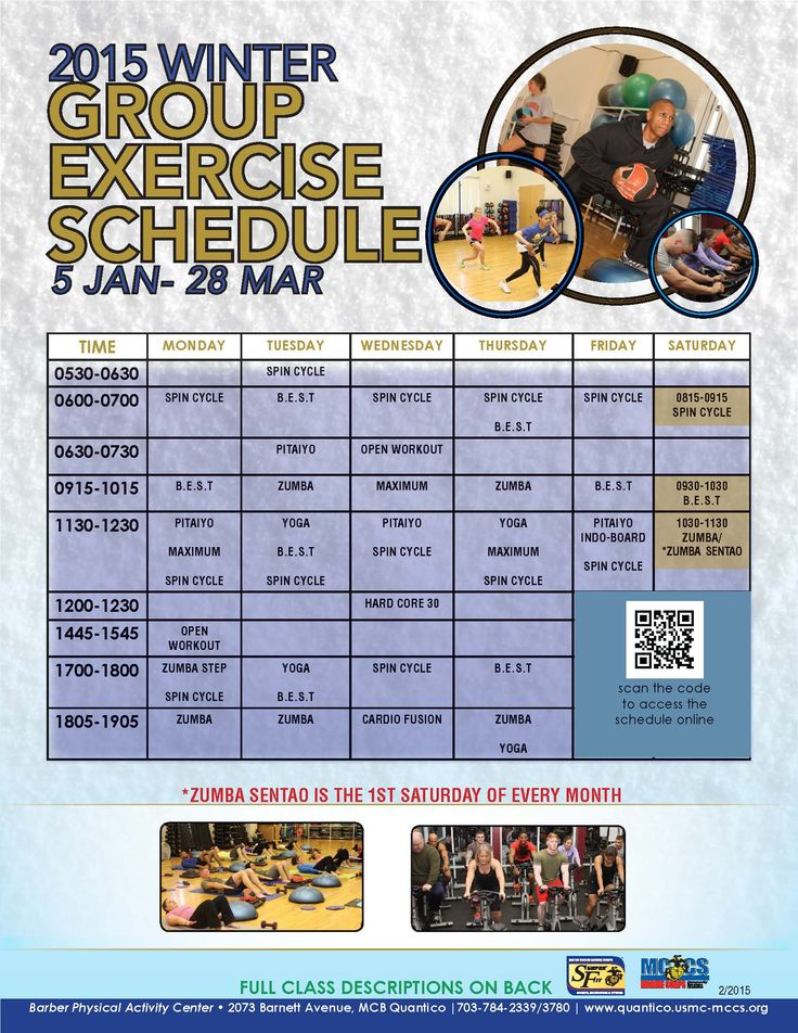 Discover the group exercise classes available at the