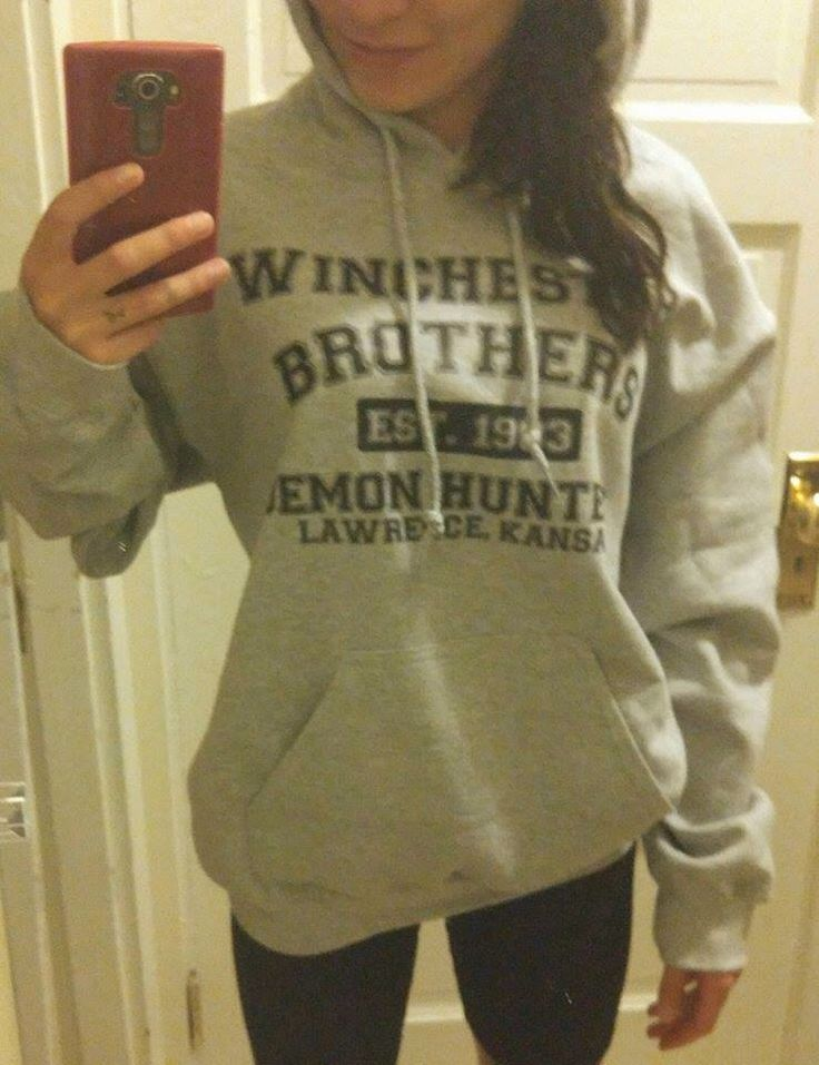 Supernatural winchester brothers demon hunters pull over hooded sweat shirt by allaboutrecords on Etsy https://www.etsy.com/listing/229295565/supernatural-winchester-brothers-demon