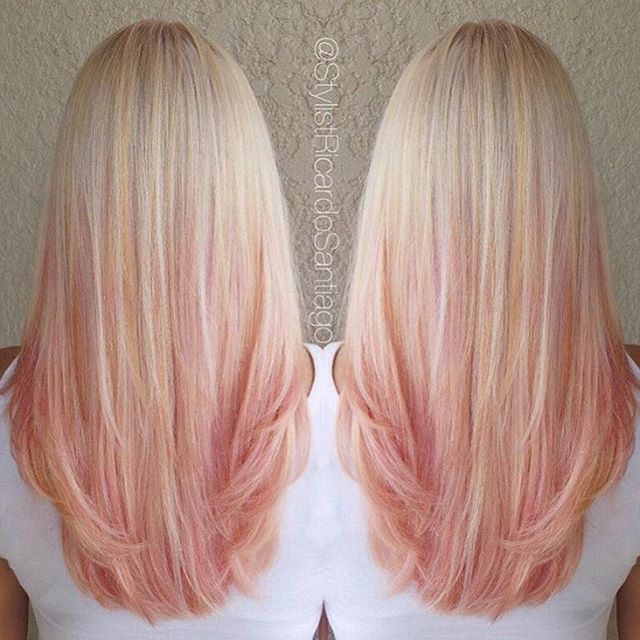 Strawberry-peach sherbet dreams by @stylistricardosantiago #modernsalon would look good in Pru's hair