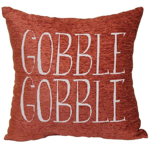 Harvest ''Gobble Gobble'' Throw Pillow ($10) ❤ liked on Polyvore featuring home, home decor, throw pillows, natural, harvest home decor, graphic throw pillows and thanksgiving home decor