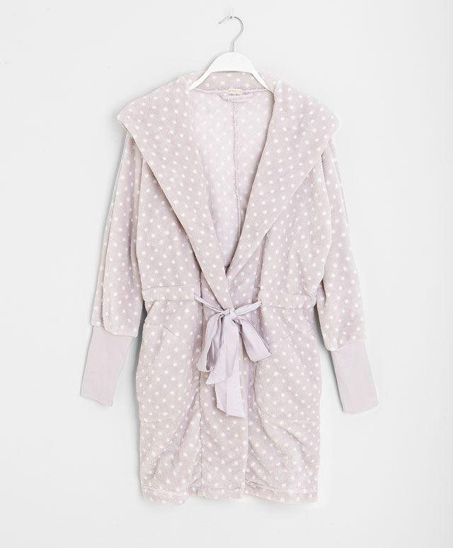 Robe de chambre polaire capuche pois - OYSHO