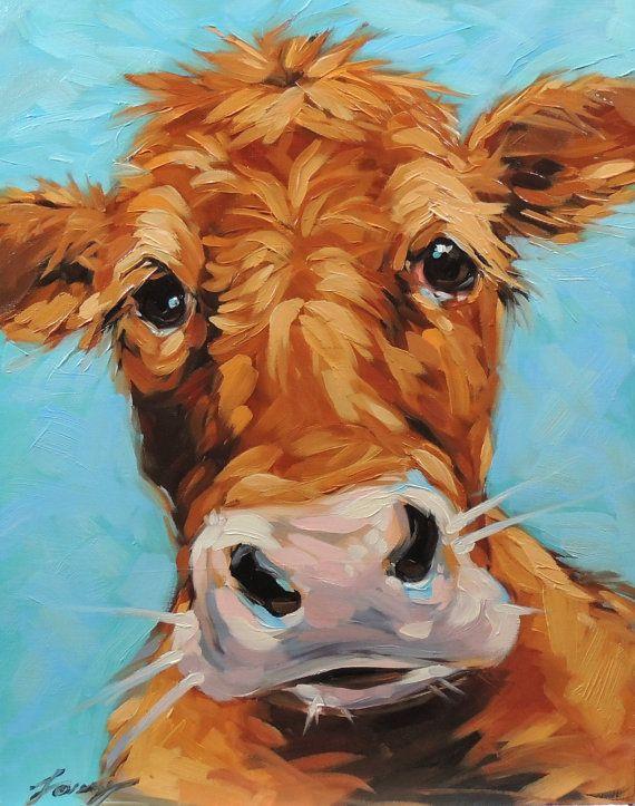 Koe schilderen 11 x 14 inch origineel van LaveryART op Etsy
