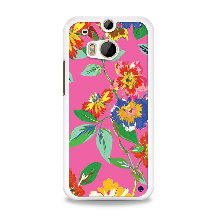 Kate Spade - FLower Pattern With Pink Background HTC One M8 Case | yukitacase.com