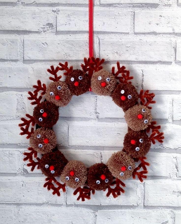 New handmade Pom Pom Christmas reindeer 10