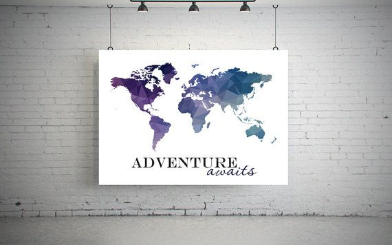 large world map poster Geometric world map art by MyPrintableArts