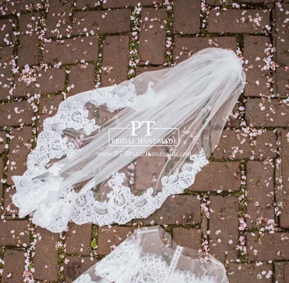 Lace wedding veil Fingertip Veil with Lace by PTBridalHandMade