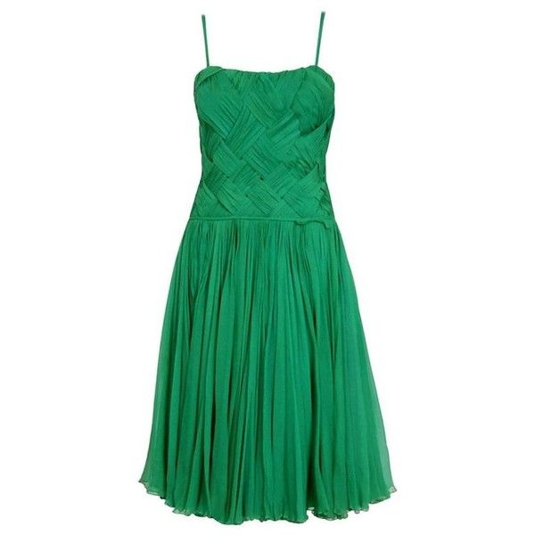 Preowned 1961 Carven Demi-couture Seafoam Green Ribbon Weave Crepe... ($1,500) ❤ liked on Polyvore featuring dresses, 1960s, green, vintage, aesthetic evening dresses, vintage polka dot dress, cocktail party dress, couture cocktail dresses, green party dress and holiday cocktail dresses
