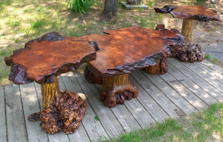 Redwood furniture showcase burl table set