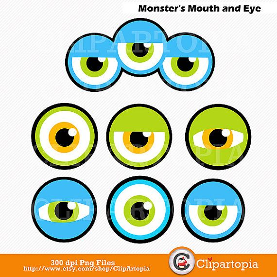 50% OFF SALE Monsters Mouth and Eyes Digital by ClipArtopia                                                                                                                                                                                 Mais