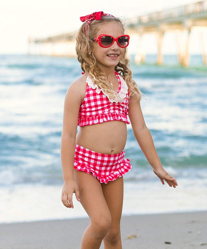 99f4842357 ... Red Gingham Halter Skirted Bikini - Toddler & Girls Products Pinterest