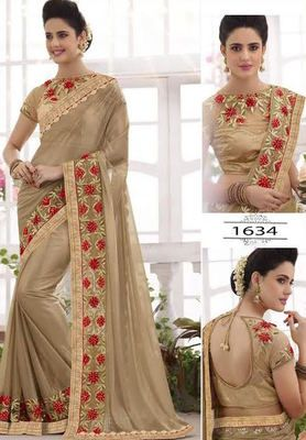 Beige Embrodired Lycra Wedding Saree With Blouse Bollywood Sarees Online on Shimply.com