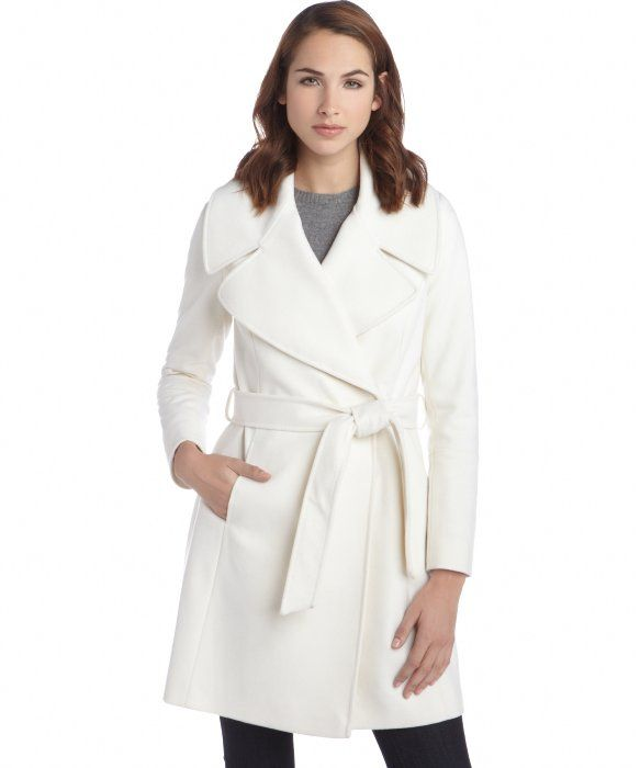 T Tahari Winter White Wool Blend Haifa Belted Coat Love