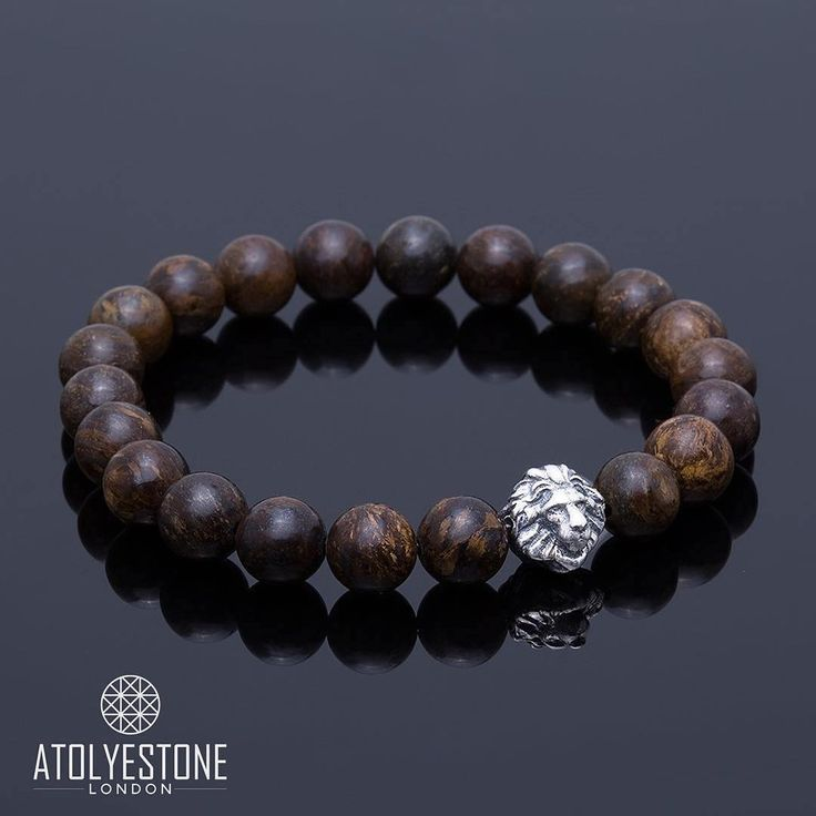 Our Premium  Bronzite Leo Charm Bracelet - White Gold / Available Now at www.atolyestone.com | 🇬🇧 WORLDWIDE SHIPPING FROM LONDON 🇬🇧 |⠀⠀⠀⠀ #ATOLYESTONE @atolyestone |