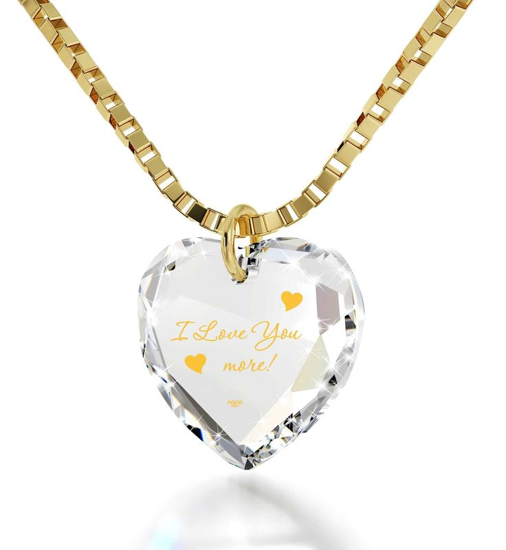 """""""I Love You More"""", 24k Gold Plated Necklace, Swarovski. Exclusive 24 karat pure gold inscription Swarovski Heart Crystal (10mm x 10mm including bail) 24k Gold Plated bail 14k Gold Italian Box chain, 18"""" (45cm) - Standard Size for Women Make her forget her worries with this unusual necklace Fantastic gift idea for young women that comes with a custom-made magnifying glass inside a splendid box  Keep reading"""