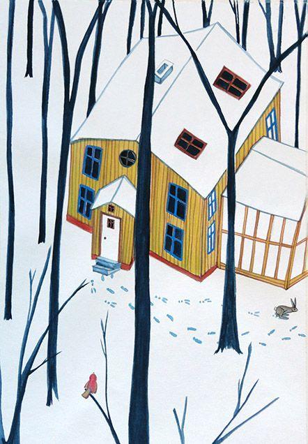 footprints in the snow, illustration by Danish illustrator Signe Gabriel