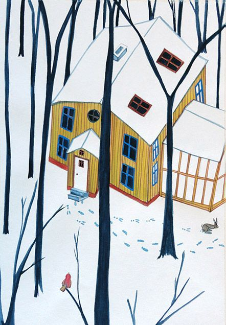 footprints in the snow, illustration by Danish illustrator Signe Gabriel