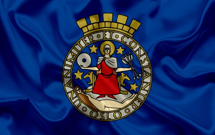 Download wallpapers Flag of Oslo, Norway, coat of arms Oslo, symbols, capital of Norway, Oslo