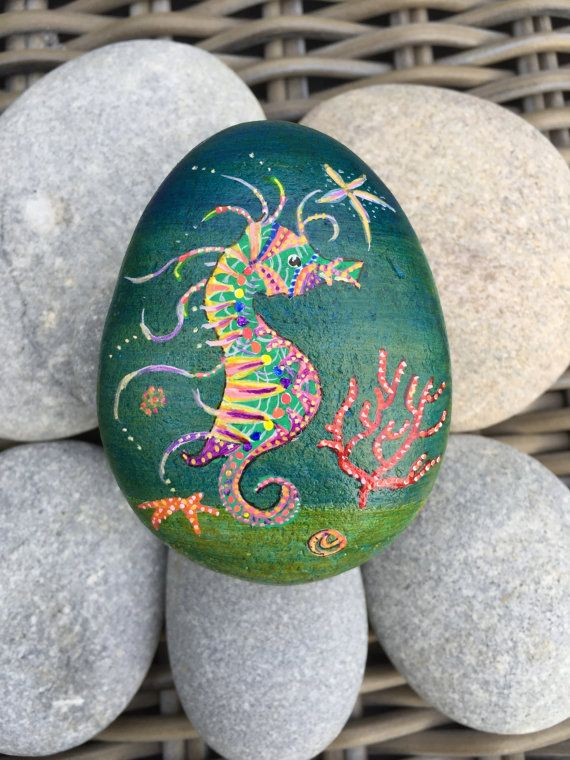 Magical Seahorse painted on rock