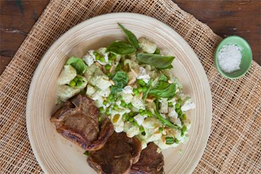 Basil and pea pasta with feta and pine nuts and lamb T-bones