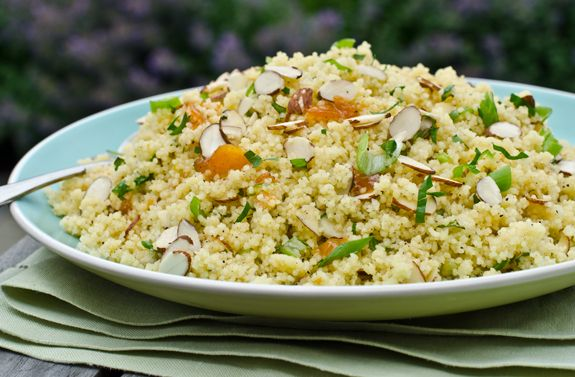A Delicious Warm Couscous Salad with Scallions, Sliced Almonds and a Fruity Apricot Vinaigrette - TESTED RECIPE