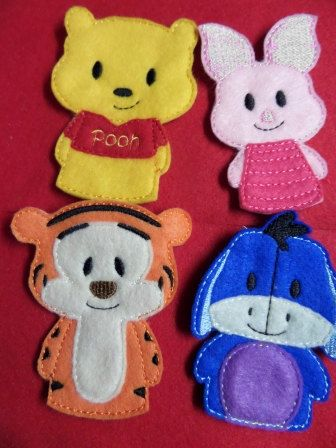 Bear and Friends Finger Puppet Set by HandiCraftHodgePodge on Etsy