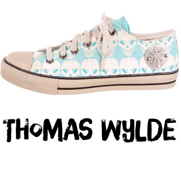 """Like new Thomas Wylde turquoise blue and tan round-toe sneakers with skull print throughout, rubber heels and lace-tie closure at vamp. RARE!!! Hard to find these.  Excellent condition. Only worn briefly once. They were just too small for me. Heels 1"""". Size 6. Fit true to size. Retail $295.     ✅Always Authentic✅ ⬇️Bundle & Save⬇️ 😊Cross listed so will sell quickly😊 ❌NO Trades❌NO PayPal❌"""