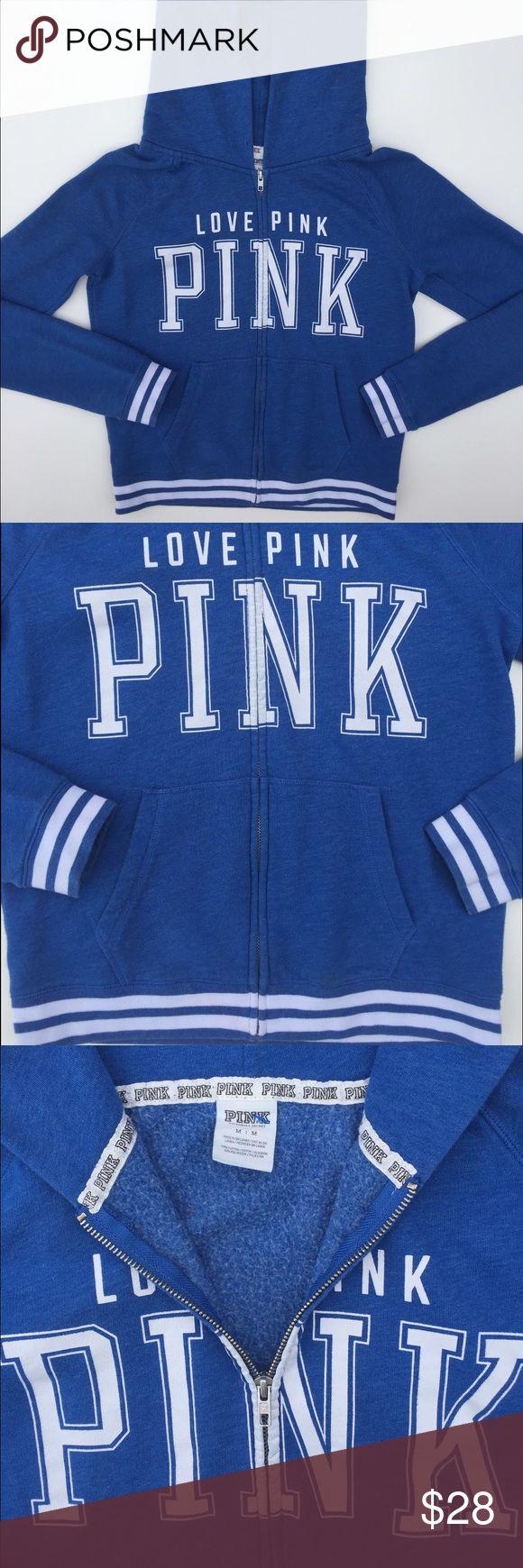 VS PINK blue & white zip up hoodie Size medium Victoria's Secret PINK blue and white zip up hoodie. Blue & white stripe detail trim around waist and sleeve. Has pockets. PINK Victoria's Secret Tops Sweatshirts & Hoodies