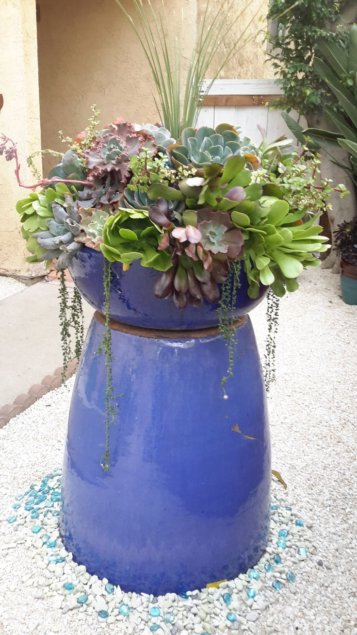 To raise a planter, like this showy assorted succulent mix, just invert a  tall matching pot as a base and set the display on top.