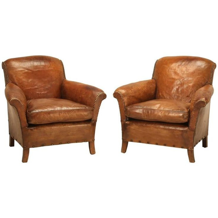 French Art Deco Leather Club Chairs, Restored | 1stdibs.com