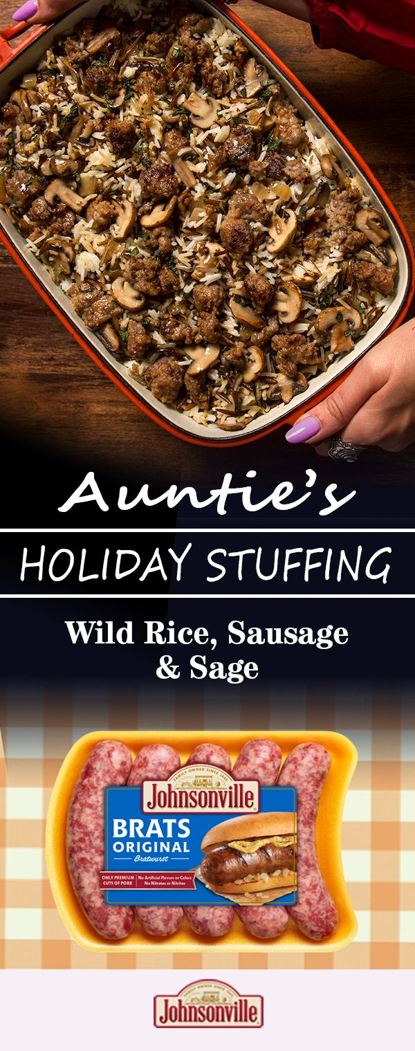 What do you get when you pair the rich, woodsy flavor of mushrooms with the nutty bite of wild rice? Stuffing perfection, of course. But just to make this dish completely irresistible, we added in some Johnsonville Original Bratwurst with its secret blend of spices. This recipe will get you counting down the days to Thanksgiving ­– this year and next!