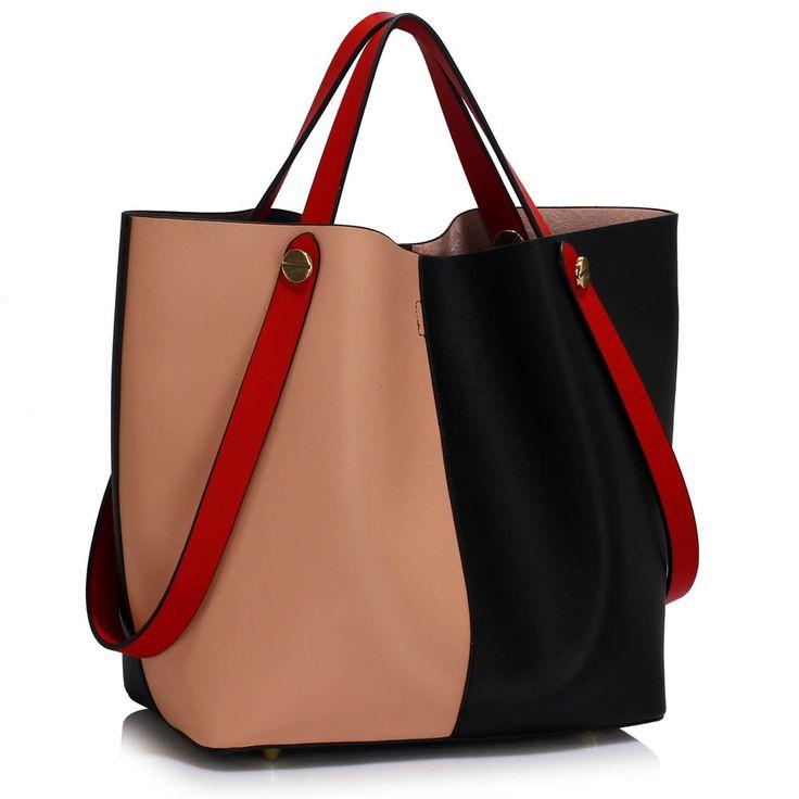 Barva kabelky: černá/tělová. Velikost 32 cm x 32 cm.  Kabelka vysoké kvality s prostornou hlavní částí má odnímatelnou vnitřní taštičku. Lze jí nosit v ruce i přes rameno.